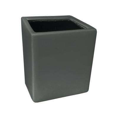 Cube 5 1/2 in. x 6 in. Dark Grey Ceramic Wall Planter