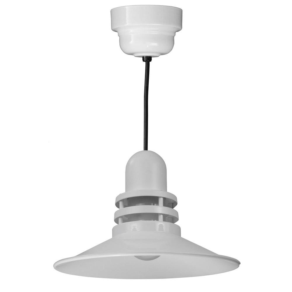 Illumine 1-Light White Orbitor Shade Pendant with Frosted Glass