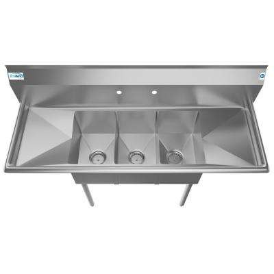 Freestanding Stainless Steel 54 in. 2-Hole Triple Bowl Commercial Kitchen Sink