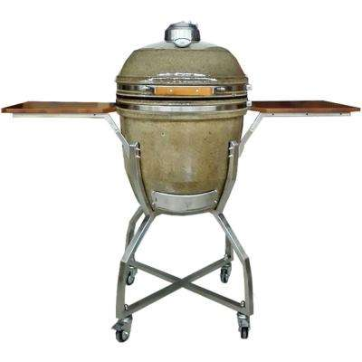 19 in. Ceramic Kamado Grill in Desert with Stainless Steel Cart and Accessories Package