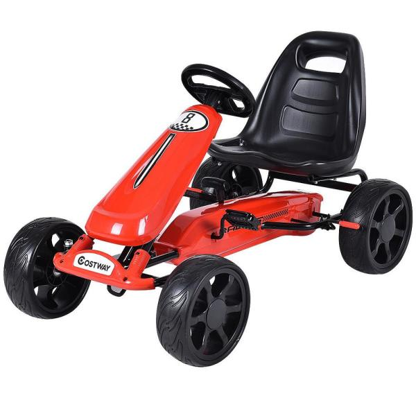 Red Xmas Gift Go Kart Kids Ride On Car Pedal Powered Car 4 Wheel Racer Toy Stealth Outdoor