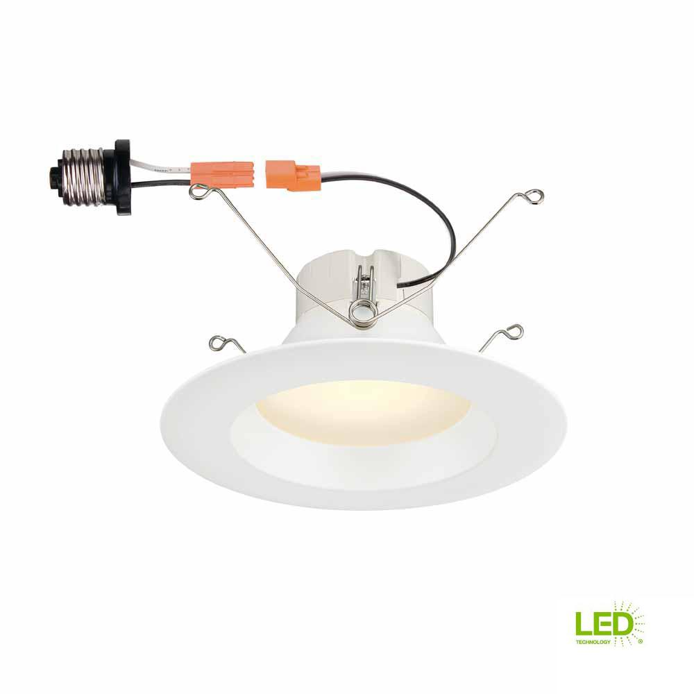 Commercial Electric 5 in. and 6 in. White Integrated LED High Lumen ...