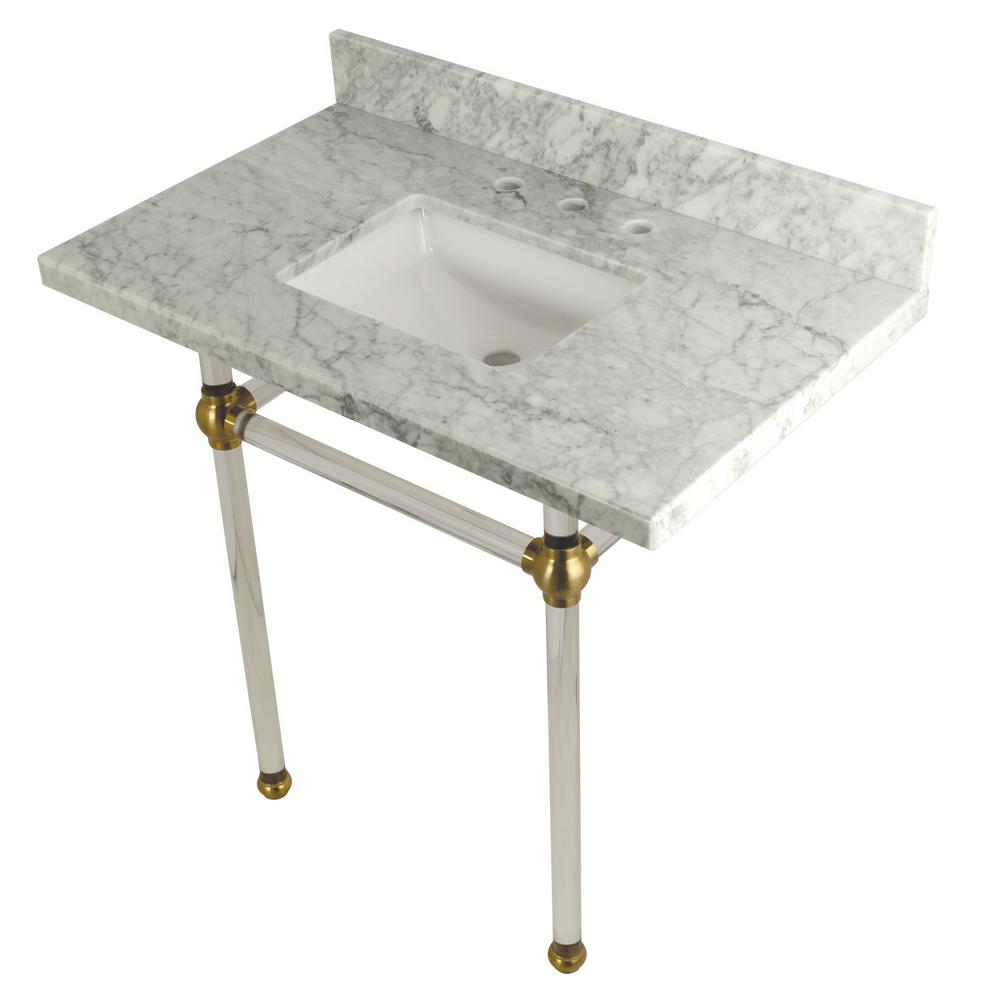 Square Sink Washstand 36 in. Console Table in Carrara Marble with