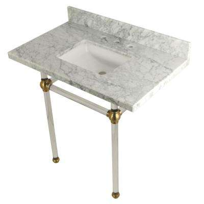 Square Sink Washstand 36 in. Console Table in Carrara Marble with Acrylic Legs in Satin Brass