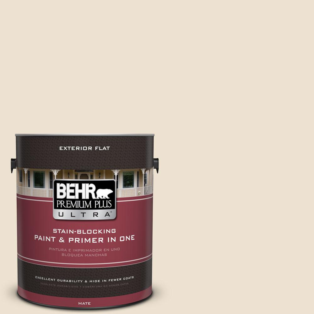 BEHR Premium Plus Ultra 1-Gal. #PPU7-15 Ivory Lace Flat Exterior Paint