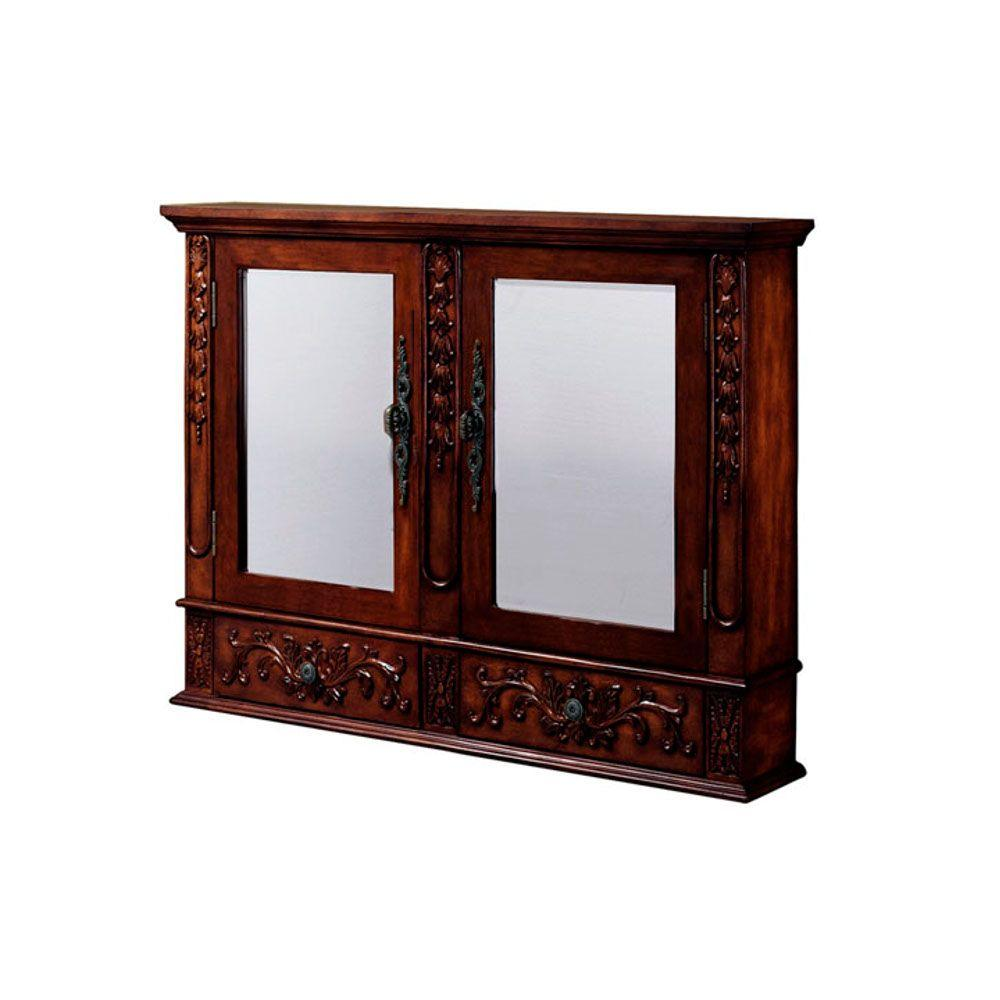Home Decorators Collection Winslow 36 in. H x 45 in. W Double Wall Cabinet in Antique Cherry