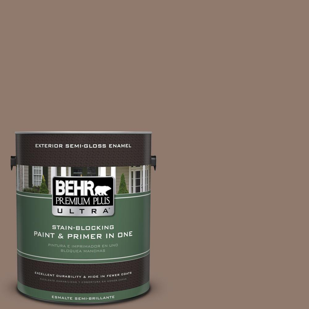 BEHR Premium Plus Ultra 1-gal. #N170-5 Chocolate Heart Semi-Gloss Enamel Exterior Paint