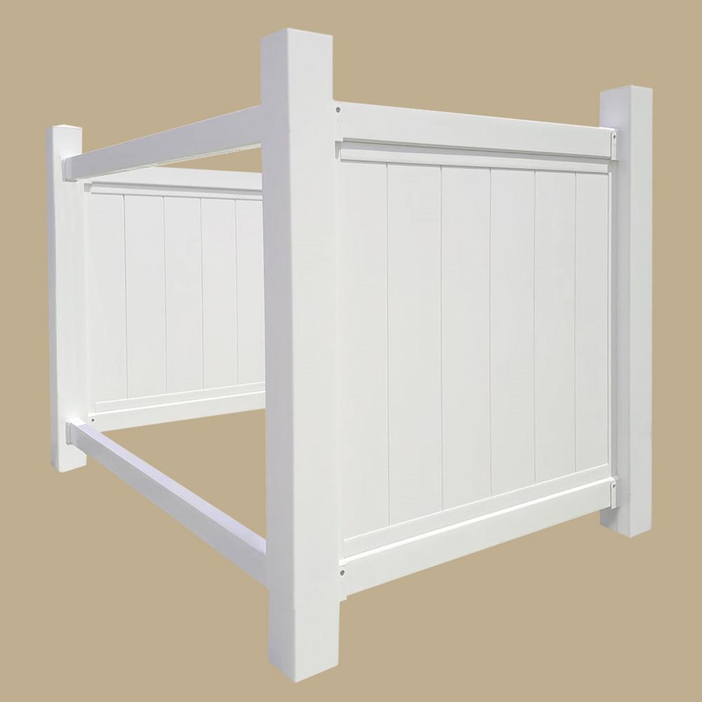 4.36 ft. x 5.9 ft. White Vinyl Fence Panel - Trash Bin Storage Unit (Unassembled)