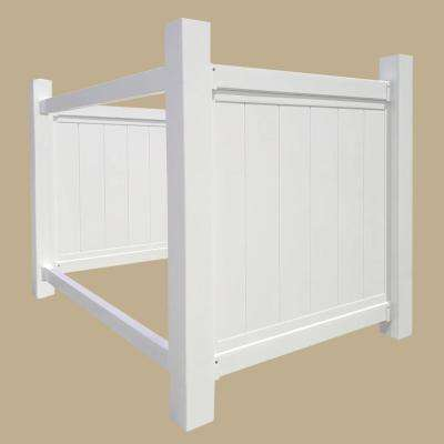 4.36 ft. x 5.9 ft. White Vinyl Fence Panel - Trash Bin Storage Unit (Unassembled)