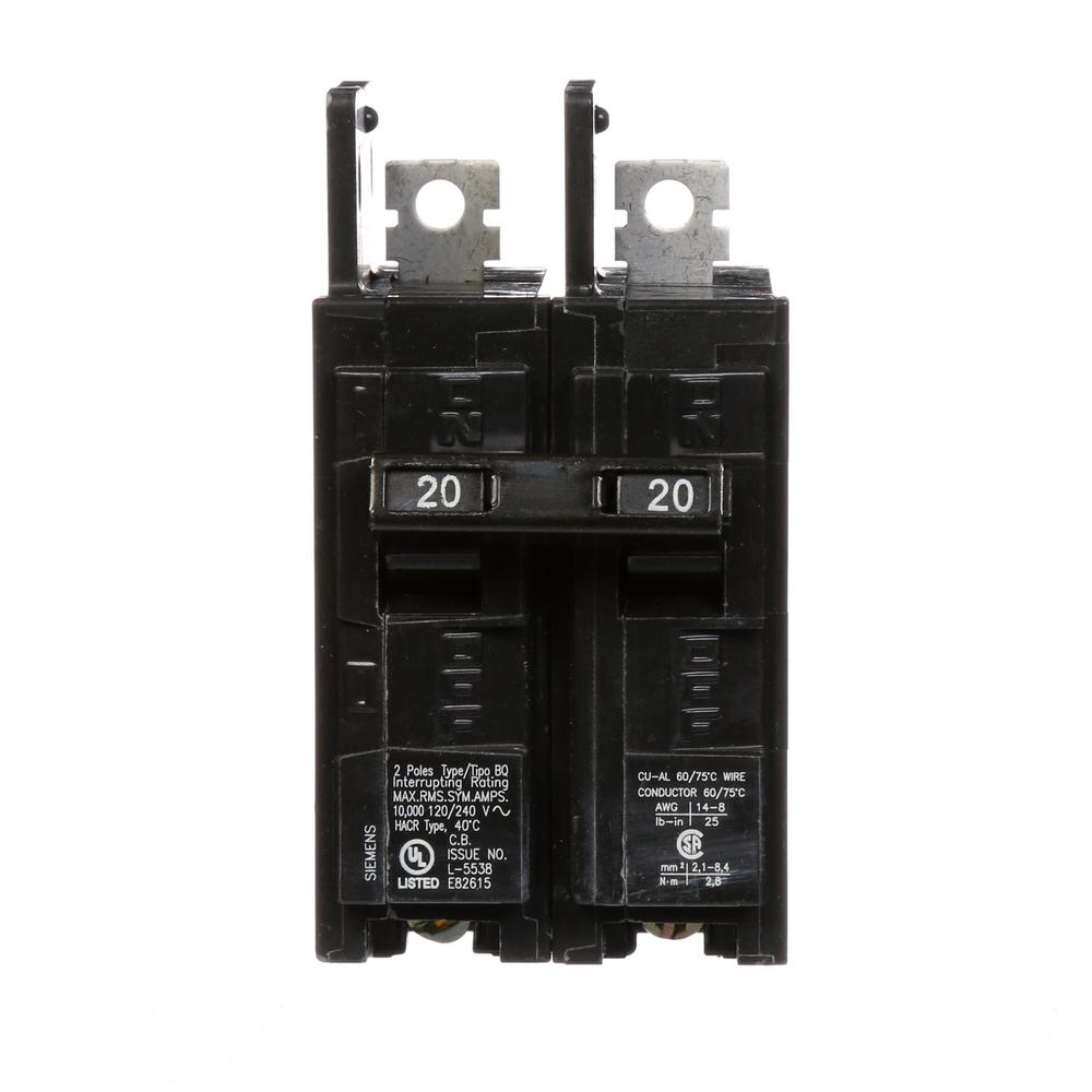 20 Amp 2-Pole Type BQ 10 kA Lug-In/Lug-Out Circuit Breaker