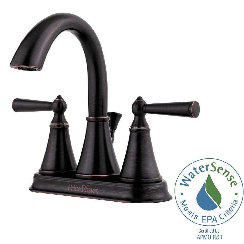 Pfister Saxton 4 in. Centerset 2-Handle High-Arc Bathroom Faucet in ...
