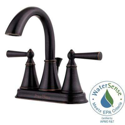 Saxton 4 in. Centerset 2-Handle High-Arc Bathroom Faucet in Tuscan Bronze