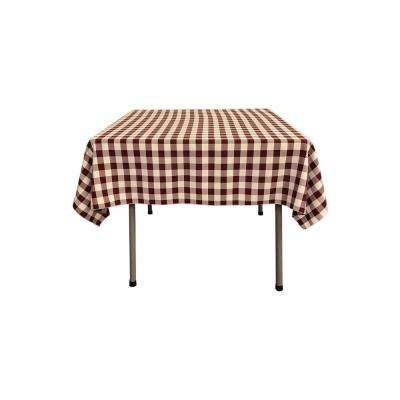 58 in. x 58 in. White and Burgundy Polyester Gingham Checkered Square Tablecloth