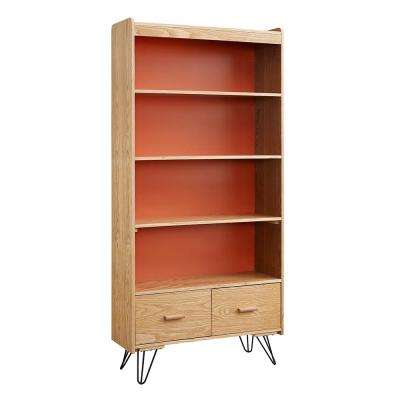 Natural And Orange, Ash Veneer Finish Perry Bookcase With Drawer