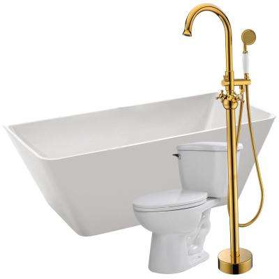 Zenith 67 in. Acrylic Flatbottom Non-Whirlpool Bathtub in White with Bridal Faucet and Kame 1.28 GPF Toilet