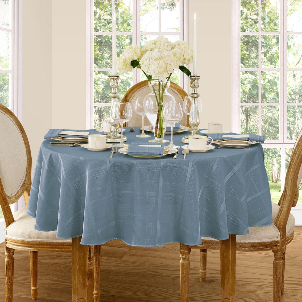 Round Blue Shadow Elrene Elegance Plaid Damask Fabric Tablecloth
