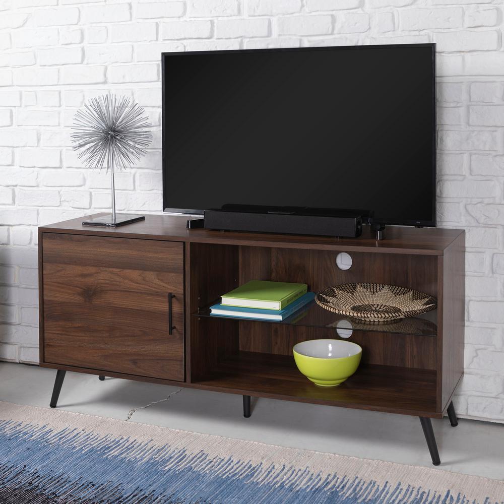 52 in. Dark Walnut Wood TV Stand 55 in. with Glass Doors
