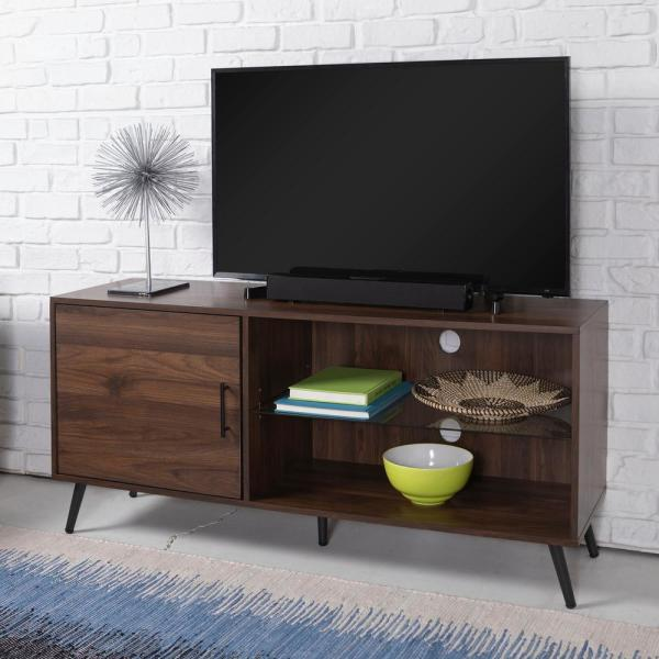 52 in. Dark Walnut TV Stand with Black Legs HD52NORGSDW