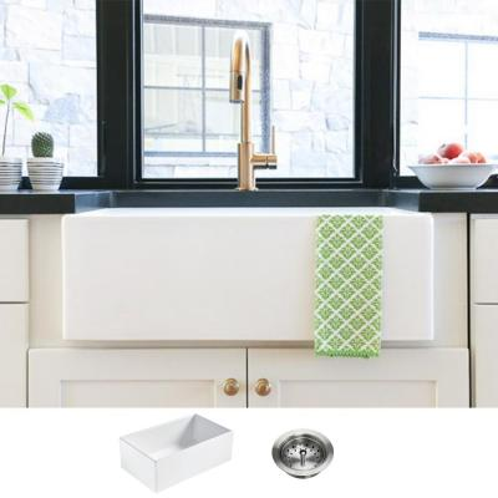 Bradstreet II Farmhouse Fireclay 30 in. Single Bowl Kitchen Sink with Strainer Drain in Crisp White