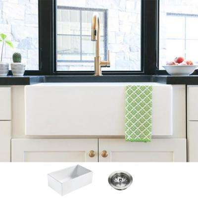 Bradstreet II Farmhouse Fireclay 30 in. Single Bowl Kitchen Sink with Strainer Drain in Crisp White