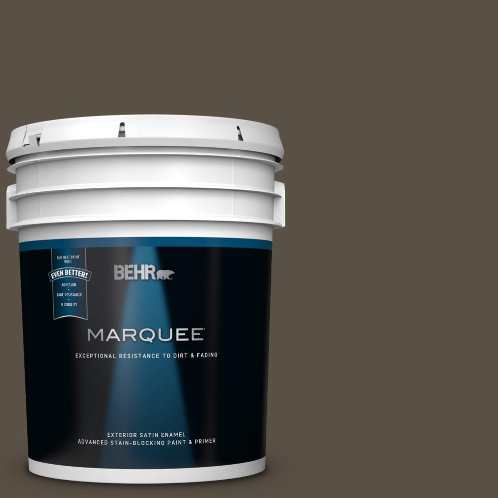 Behr Marquee 5 Gal N360 7 Potting Soil Satin Enamel Exterior Paint And Primer In One 945305 The Home Depot