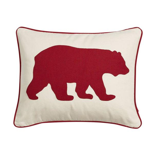 Bear Red Animal Print Polyester 16 in. x 20 in. Throw Pillow