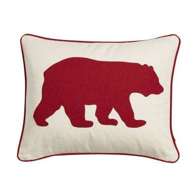 16 in. x 20 in. Red Bear Decorative Throw Pillow