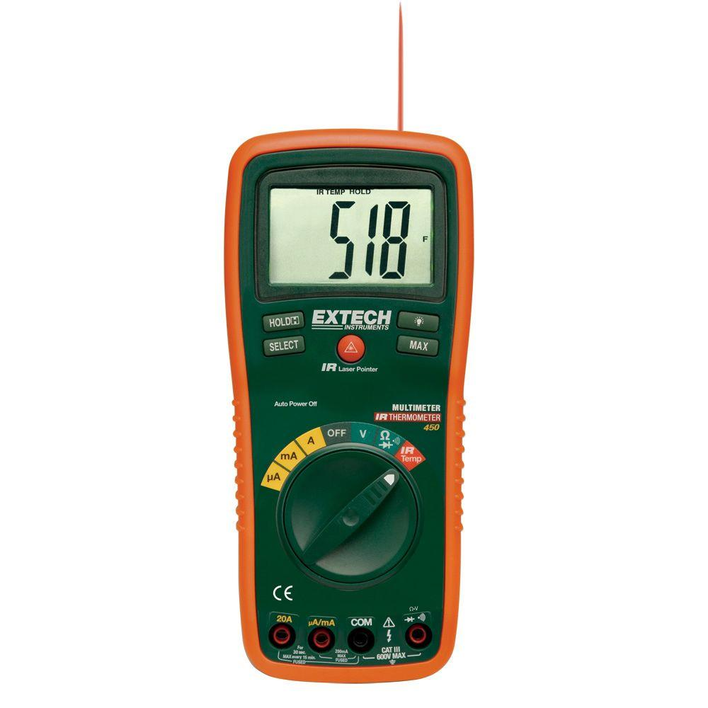 Extech Instruments Manual Multimeter Auto Ranging Built-In IR Thermometer Laser