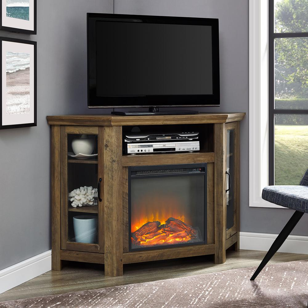 Walker Edison Furniture Company 48 in. Rustic Oak Classic Traditional Wood Corner Fireplace Media TV Stand Console was $432.75 now $299.45 (31.0% off)