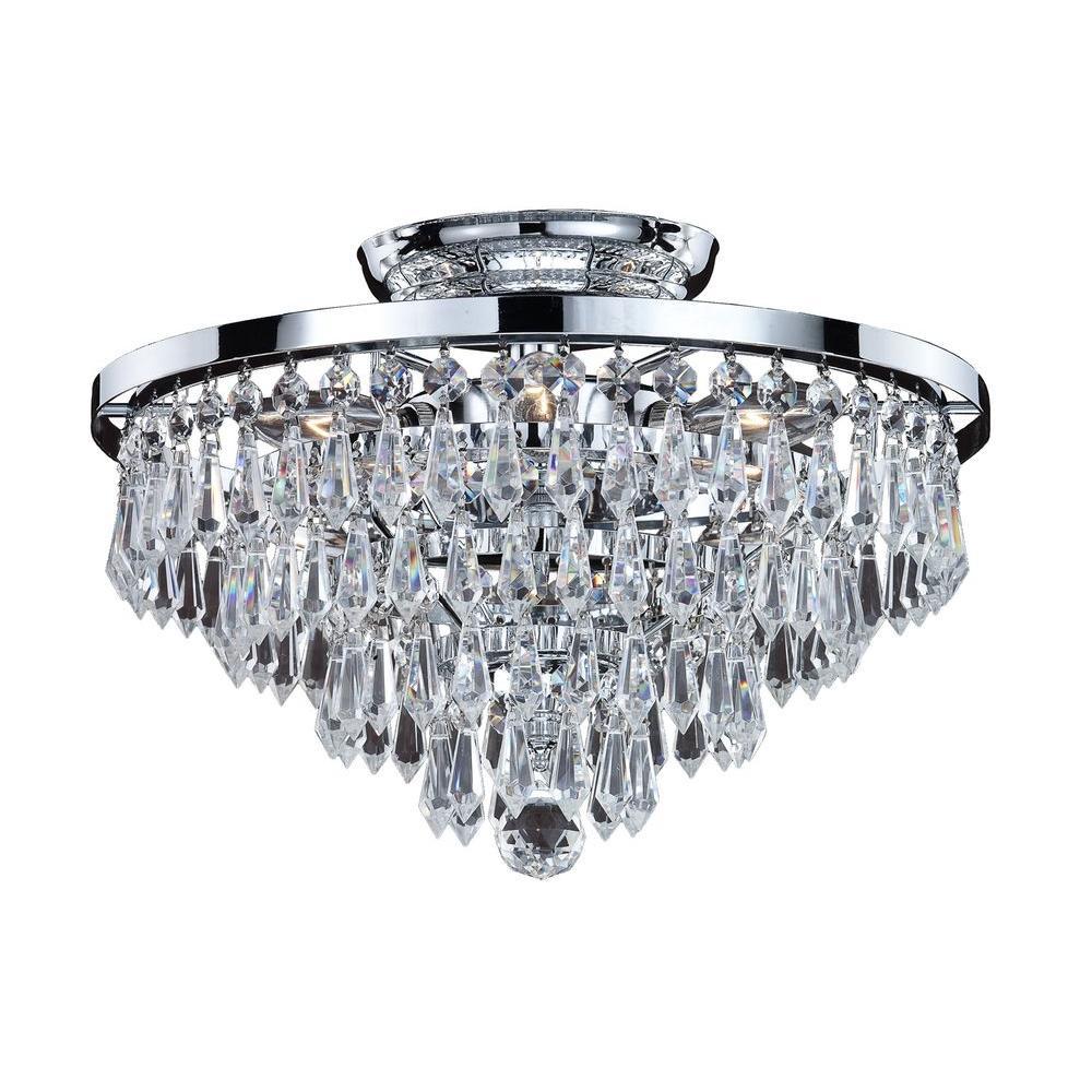 Filament Design Veranda 6-Light Silver Pearl Incandescent Semi-Flush Mount Light