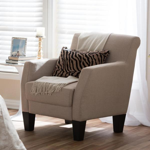 Baxton Studio Baxton Beige Fabric Upholstered Accent Chair 28862-5460-HD