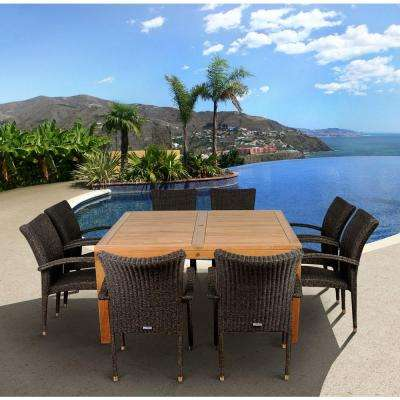 Versailles Square 9-Piece Teak Patio Dining Set