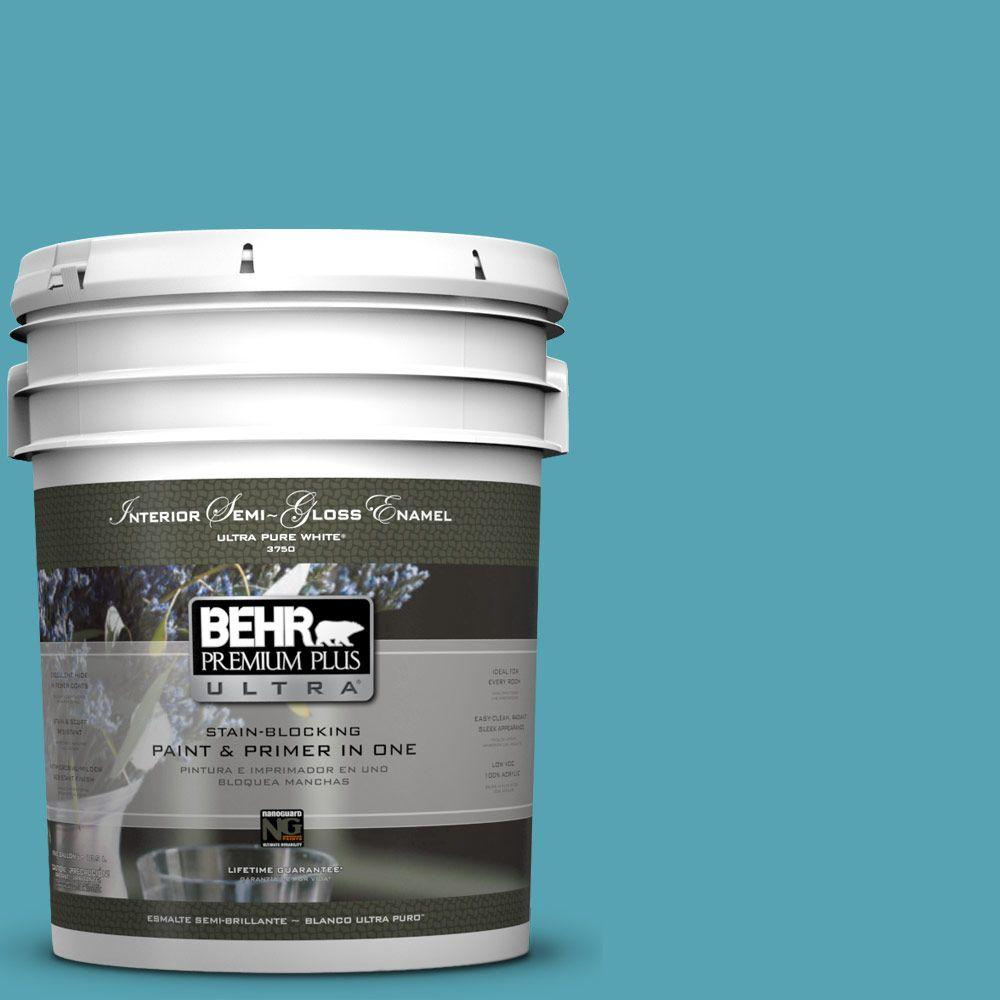 5-gal. #M470-5 Explorer Blue Semi-Gloss Enamel Interior Paint