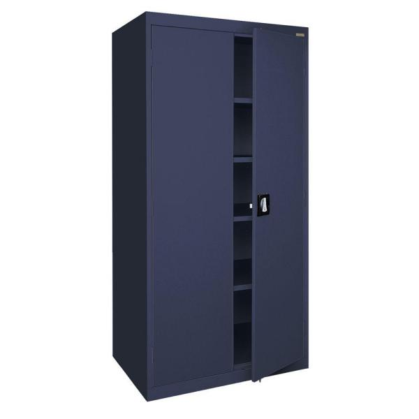 Elite Series 72 in. H x 36 in. W x 24 in. D 5-Shelf Steel Recessed Handle Storage Cabinet in Navy Blue