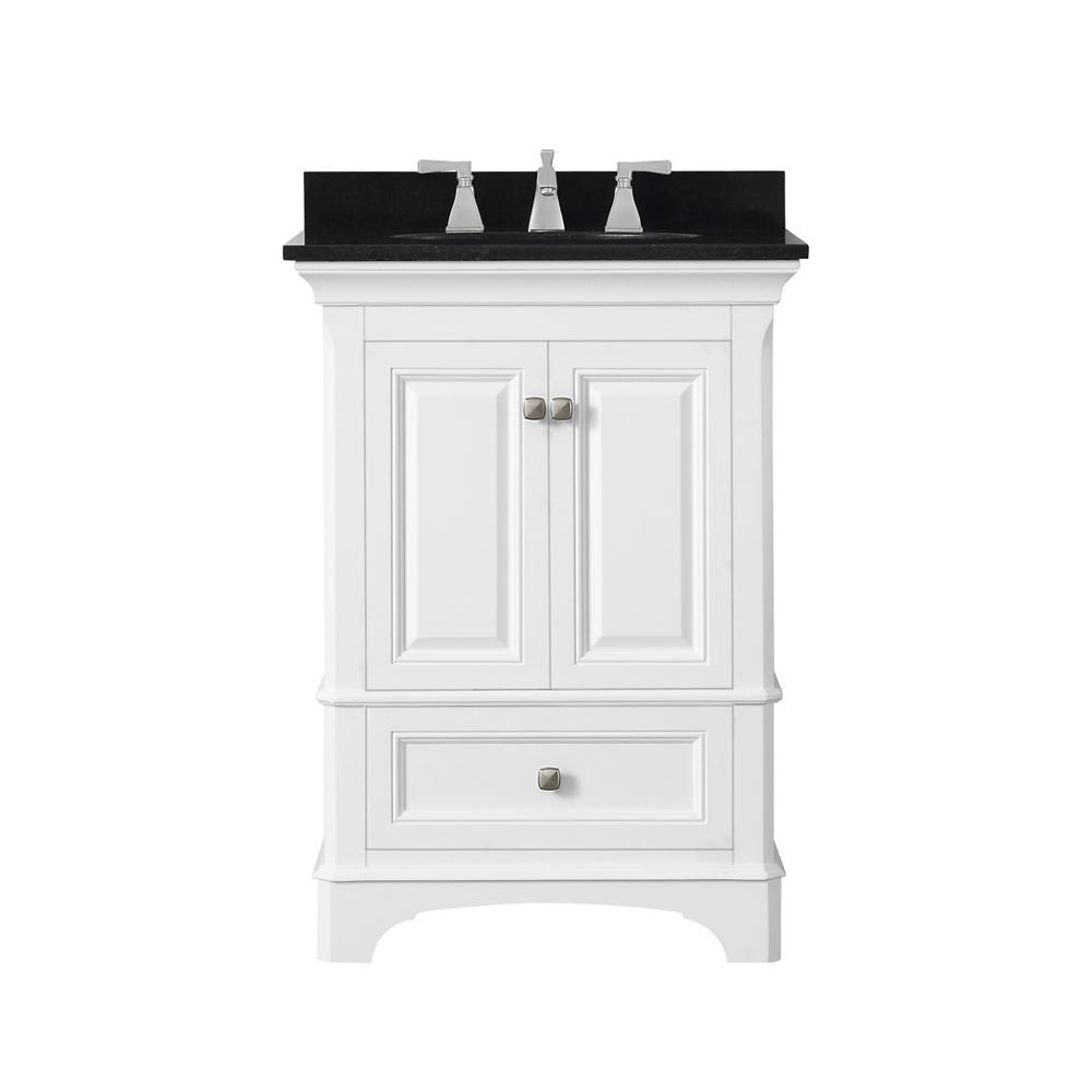 Moorpark 25 in. W Bath Vanity in White with Granite Vanity Top in Black with White Basin