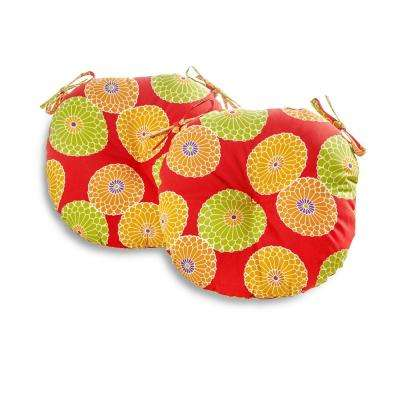Flowers on Red 18 in. Round Outdoor Seat Cushion (2-Pack)