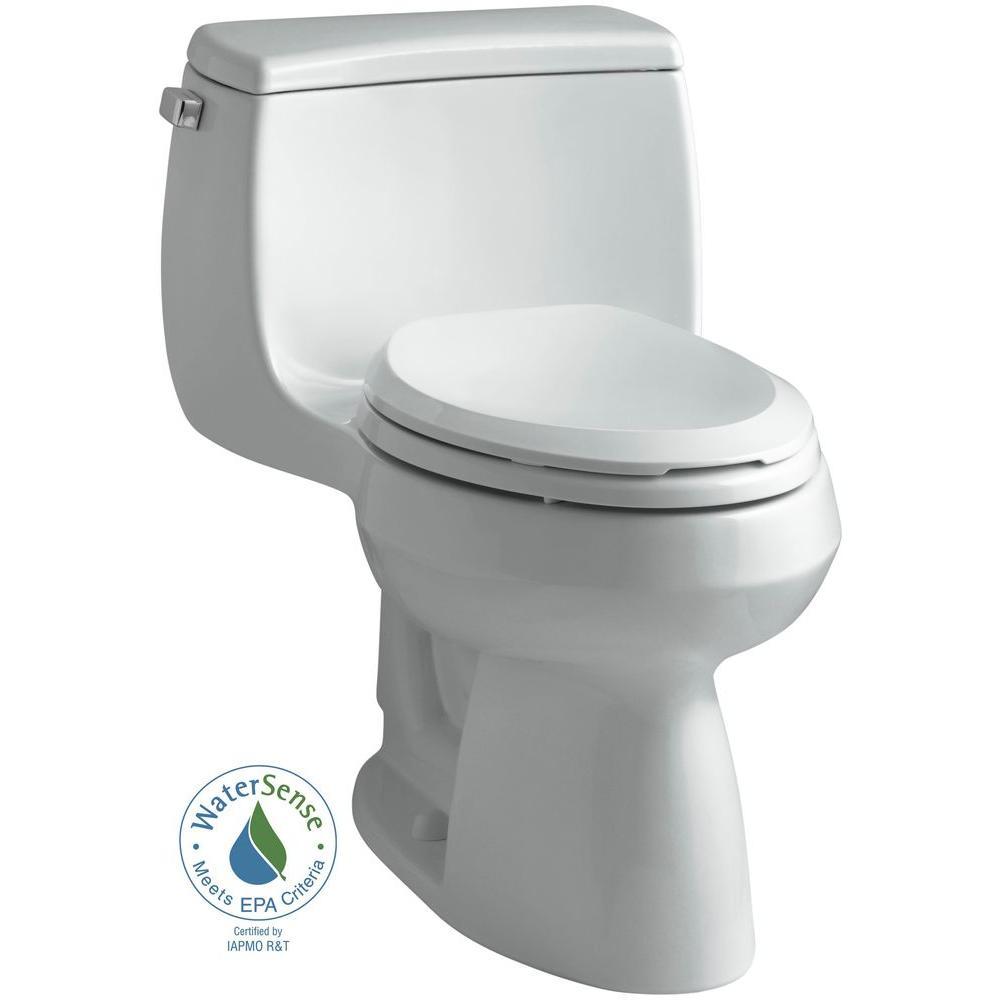 KOHLER Gabrielle Comfort Height 1-Piece 1.28 GPF Single Flush Elongated Toilet with AquaPiston Flushing Technology in Ice Grey
