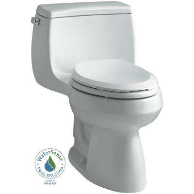 Gabrielle Comfort Height 1-Piece 1.28 GPF Single Flush Elongated Toilet with AquaPiston Flushing Technology in Ice Grey