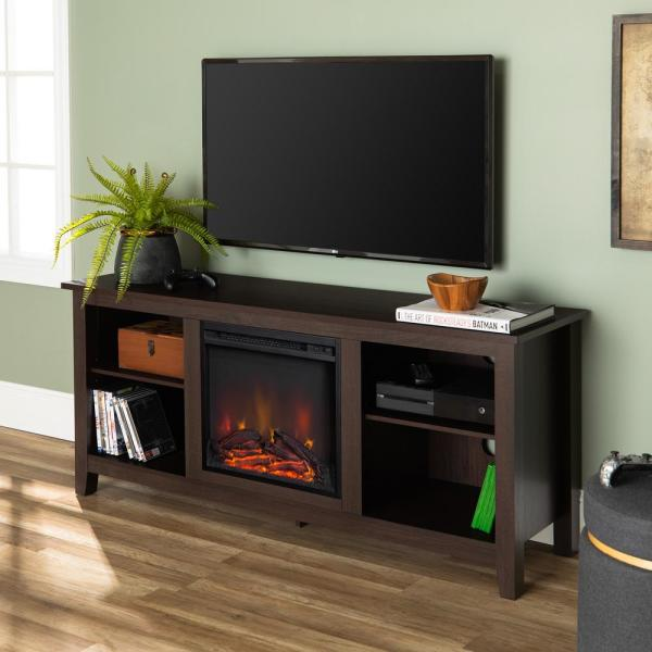 Walker Edison Furniture Company 58 In Rustic Farmhouse Fireplace Tv Stand Espresso Hd58fp18es The Home Depot