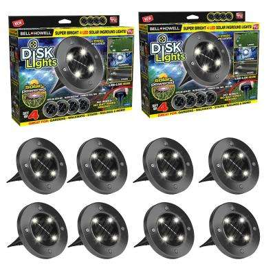 Solar Powered Gunmetal Stainless Steel Outdoor Integrated LED Super Bright  In-Ground Path Disk Lights (8 per Box)