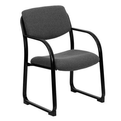 Gray Fabric Executive Side Reception Chair with Sled Base