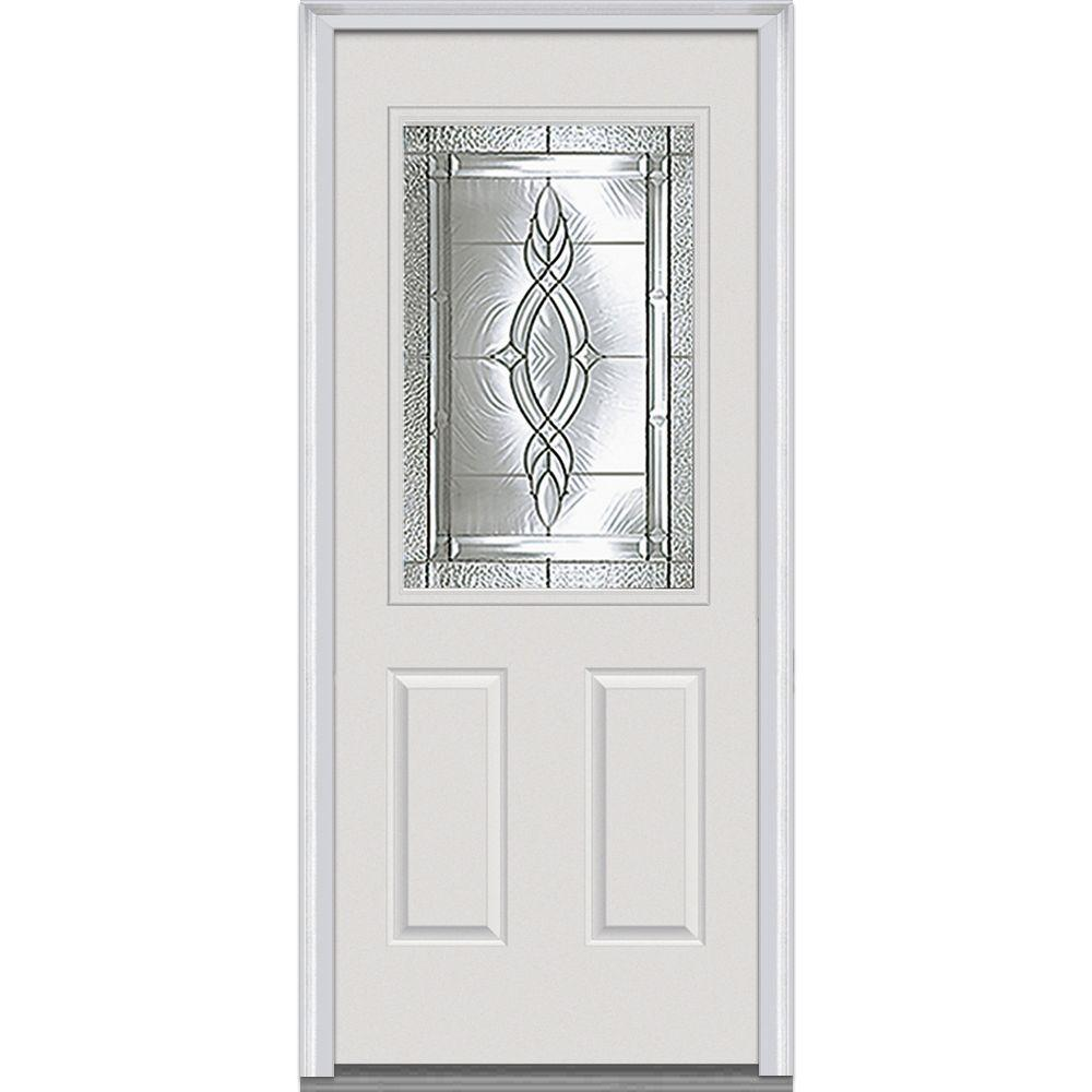 Milliken Millwork 36 in. x 80 in. Brentwood Decorative Glass 1/2 Lite Primed White Builder's Choice Steel Prehung Front Door