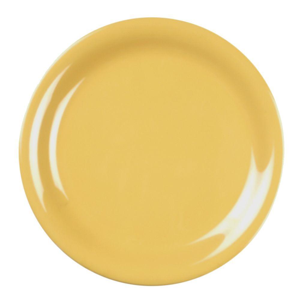 Coleur 9 in. Narrow Rim Plate Coleur Yellow (12-Piece)