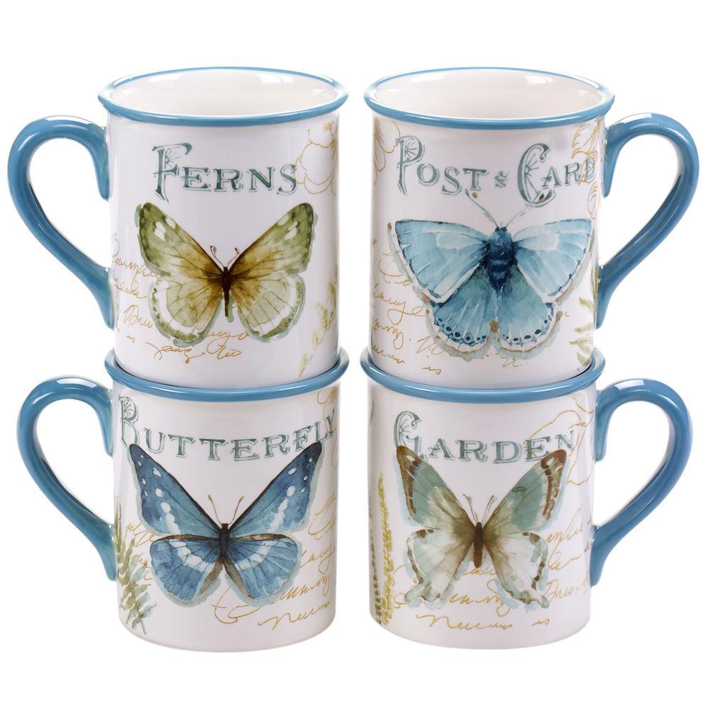 The Greenhouse Butterfly 17 oz. Mug (Set of 4)