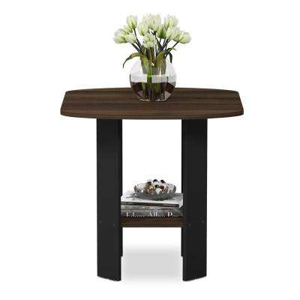 Simple Design Columbia Walnut/Black End/Side Table