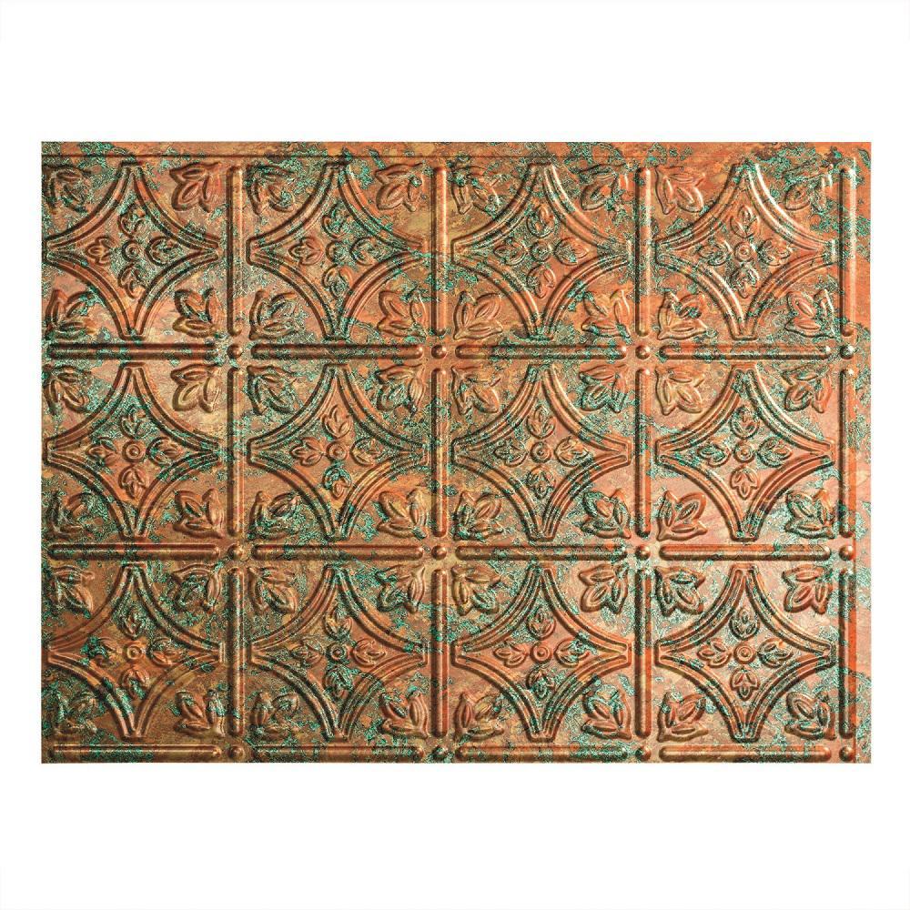 18.25 in. x 24.25 in. Copper Fantasy Traditional Style # 1 PVC Decorative Backsplash Panel