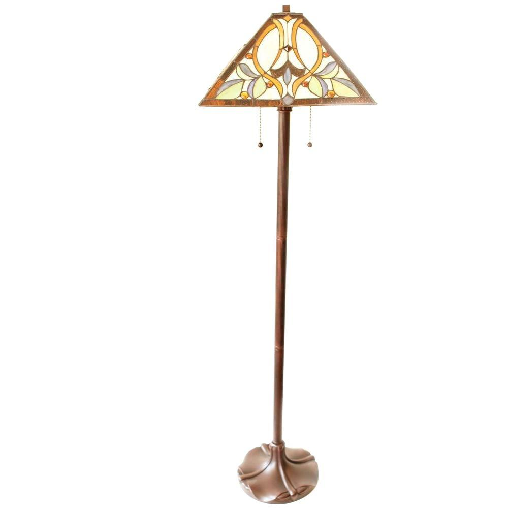 Serena D'italia Floral Mission 60 in. Bronze Table and Floor Lamp Set