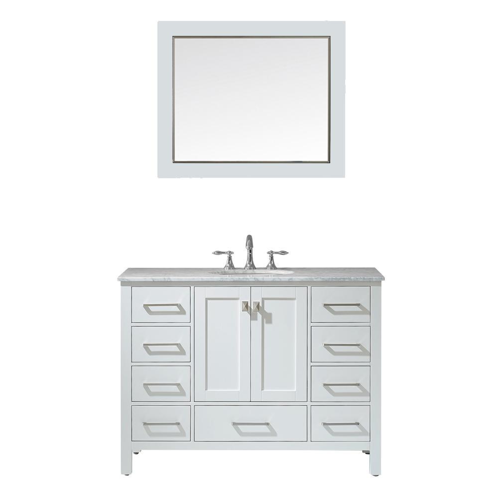 Gela 48 in. W x 22 in. D Bath Vanity in White with Marble Vanity Top in White with White Basin, Faucet and Mirror