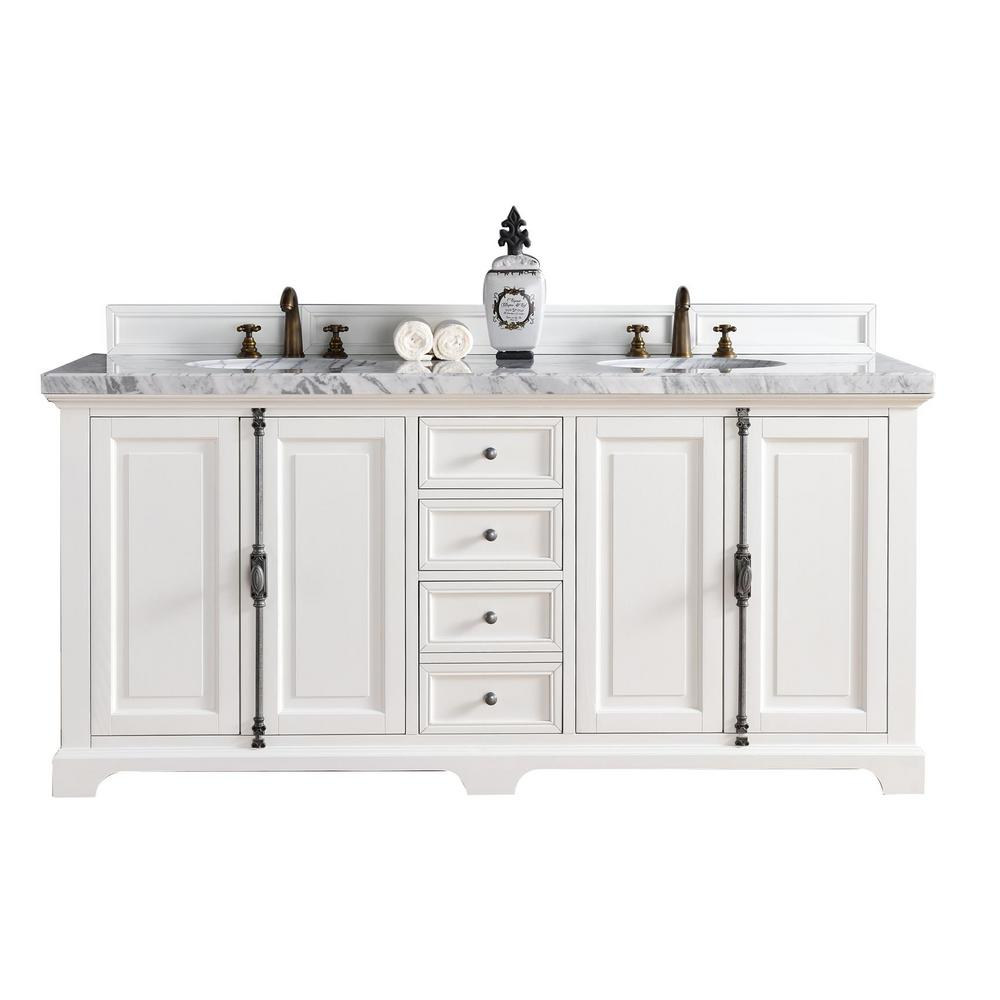 James Martin Signature Vanities Providence 72 In W Double Vanity Cottage White With Marble