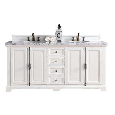 Providence 72 in. W Double Vanity in Cottage White with Marble Vanity Top in Carrara White with White Basin